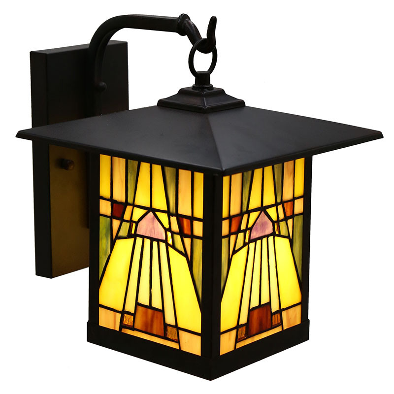 Mission Craftsman Stained Glass Wall Sconce Amber