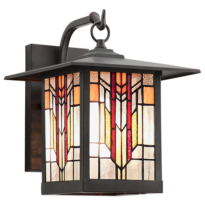 Mission Craftsman Stained Glass Wall Sconce Edward
