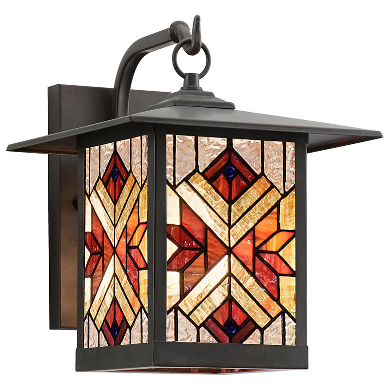 Mission Craftsman Stained Glass Wall Sconce Eli