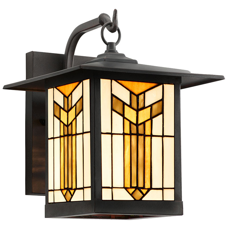 Mission Craftsman Thea Stained Glass Wall Sconce, Angled