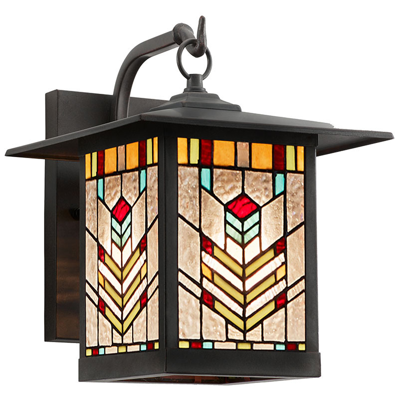 Mission Craftsman Stained Glass Wall Sconce Juniper