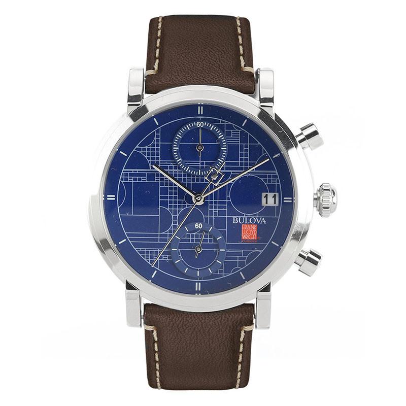 Frank Lloyd Wright Blueprint Chronograph Watch, Front