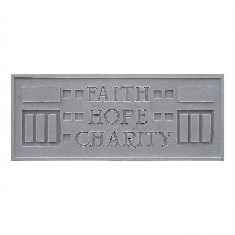 Frank Lloyd Wright Larkin Cast Stone Plaque - Faith, Hope, Charity