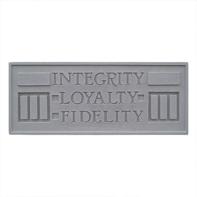 Frank Lloyd Wright Larkin Cast Stone Plaque - Integrity, Loyalty, Fidelity