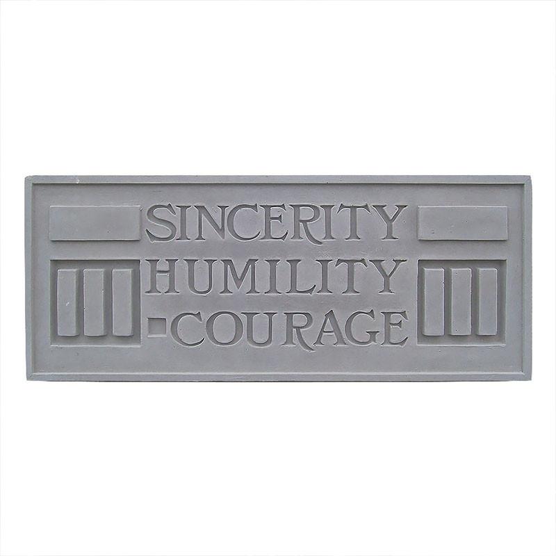 Frank Lloyd Wright Larkin Cast Stone Plaque - Sincerity, Humility, Courage
