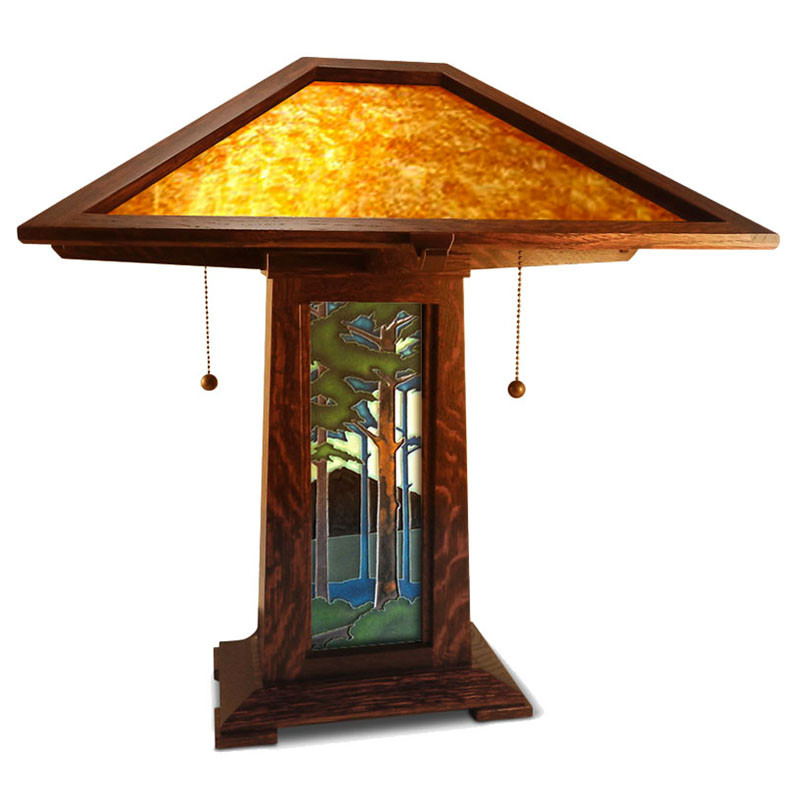 Arts and Crafts Motawi Tile Mica Shade Table Lamp On