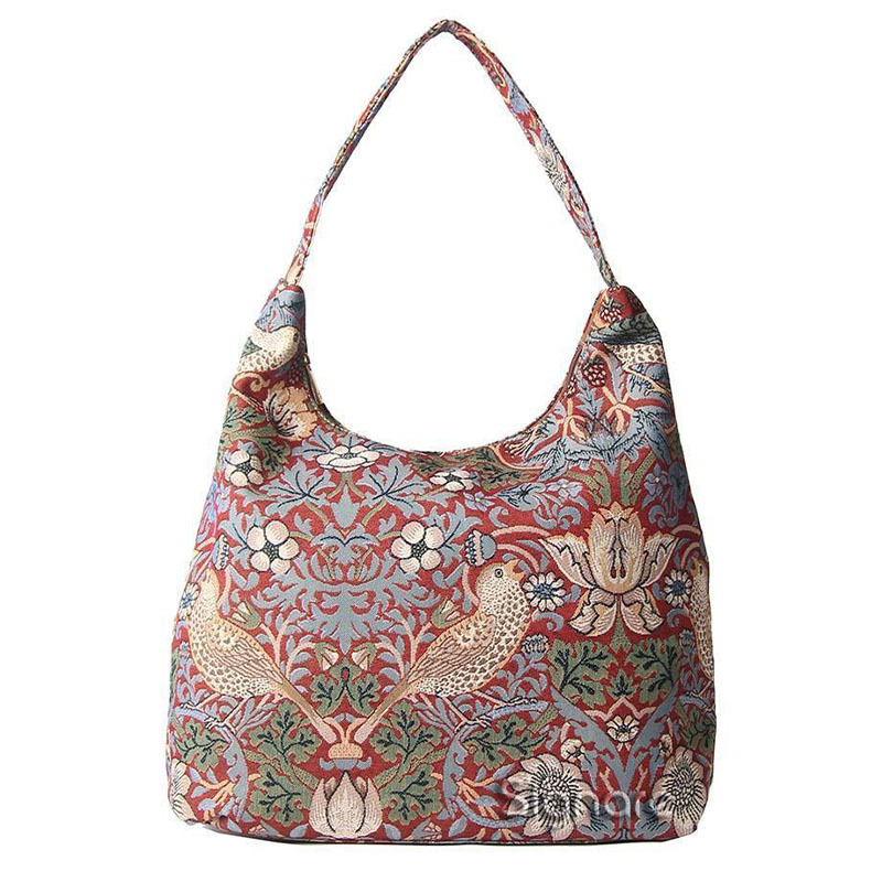 William Morris Strawberry Thief Tapestry Hobo Shoulder Bag - Red