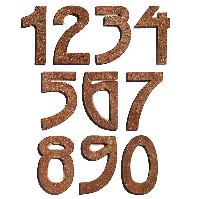 Arts and Crafts Mission Copper House Numbers