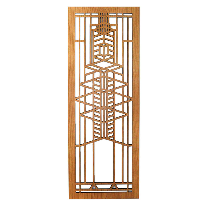 Frank Lloyd Wright Robie Glass Wood Art Screen Wall Panel Cherry