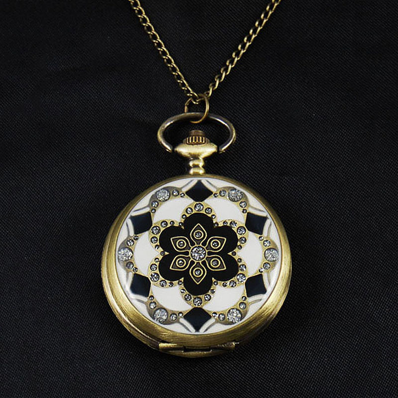 Vintage Style Art Deco Pocket Watch Pendant Necklace 2