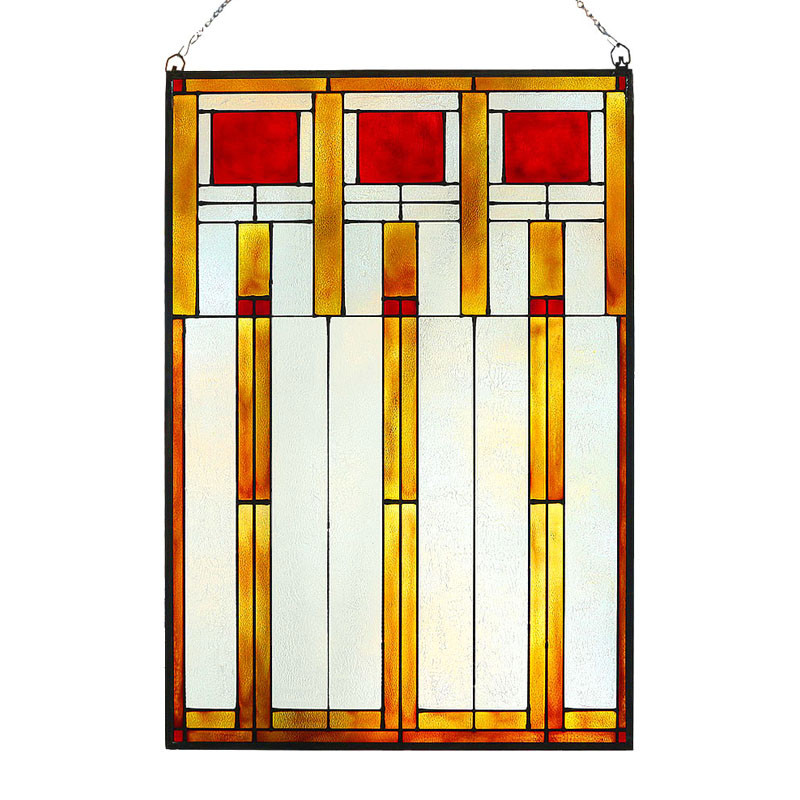 Arts and Crafts Prairie Squares Red Art Glass Panel