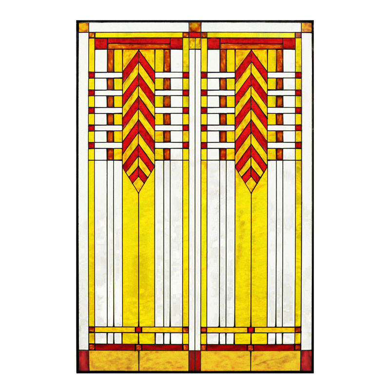 "Arts and Crafts Prairie 20"" x 30"" Chevron Art Glass Panel Red"