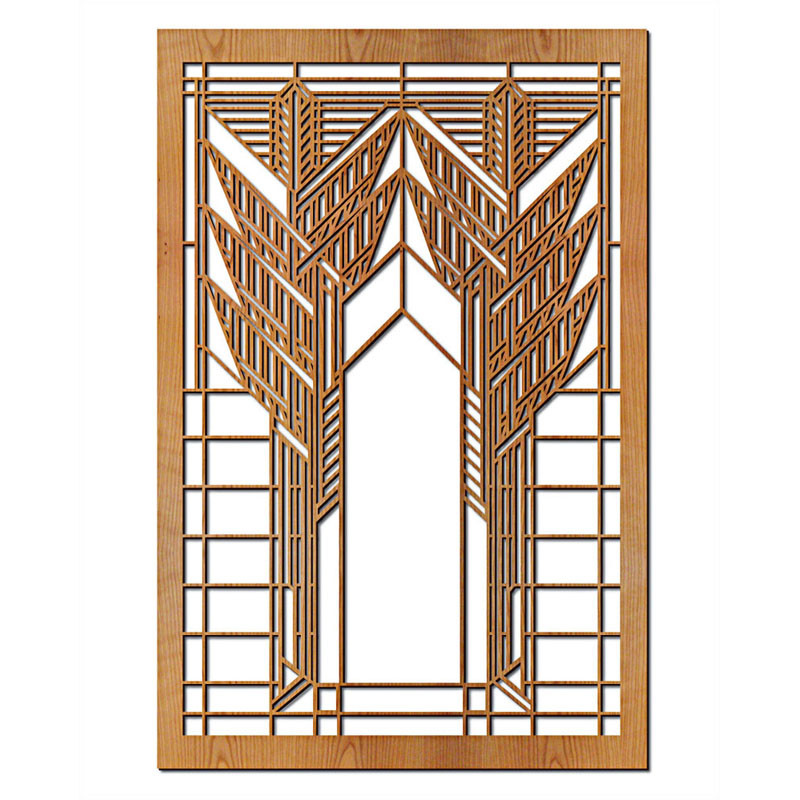 Frank Lloyd Wright Double Dana Sumac Wood Wall Panel