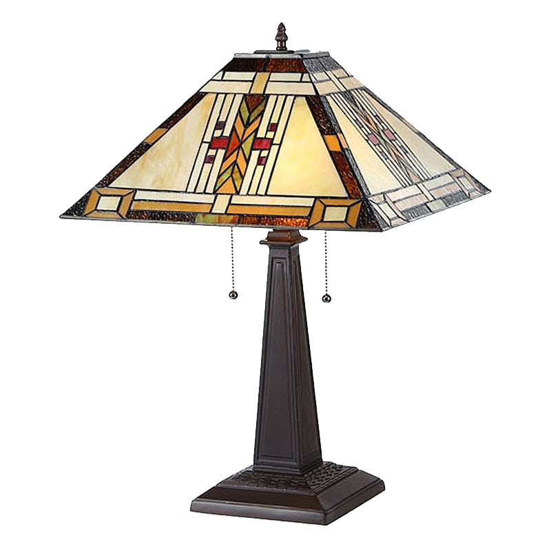 Arts & Crafts Gode Stained Glass Table Lamp