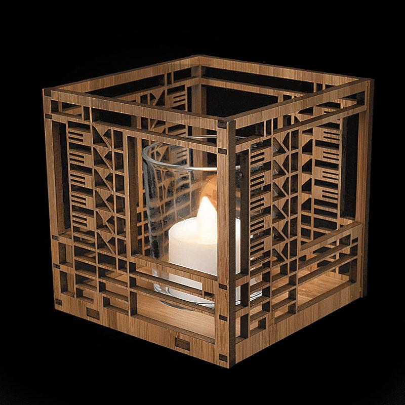 Frank Lloyd Wright Bach House Design Wood Votive