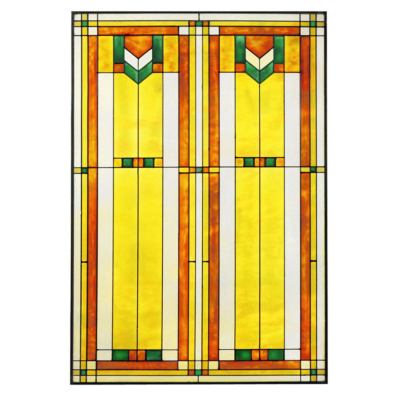 "Arts and Crafts Prairie 20"" x 30"" Window Art Glass Panel Green"