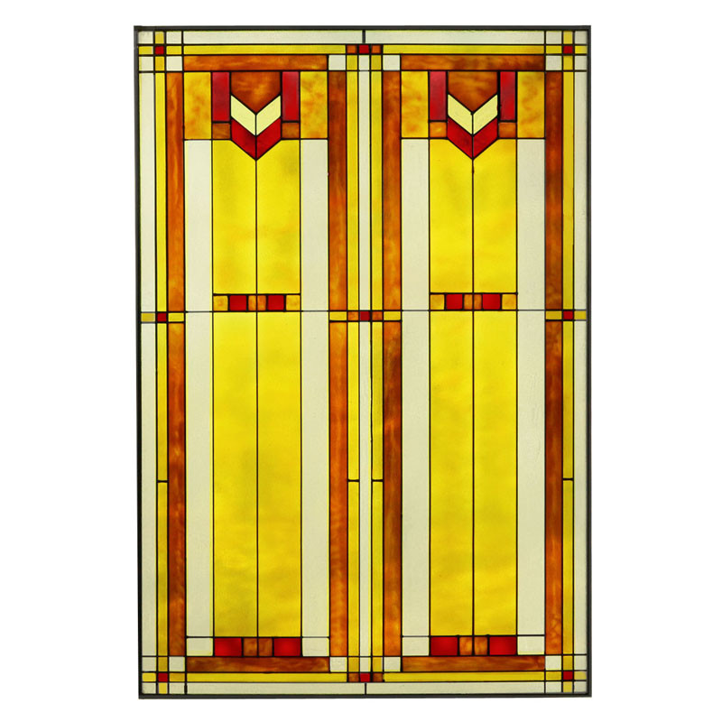 "Arts and Crafts Prairie Window 20"" x 30"" Art Glass Panel Red"