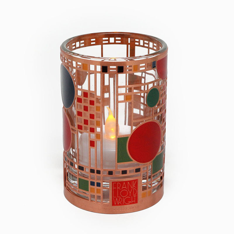 Frank Lloyd Wright Coonley Playhouse Copper / Enamel Votive