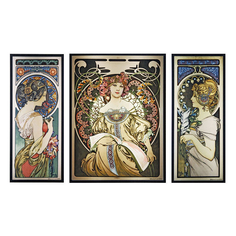 Alphonse Mucha Set of Three Stained Glass Panels