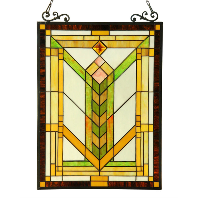 Arts and Crafts Barley Stained Glass Panel