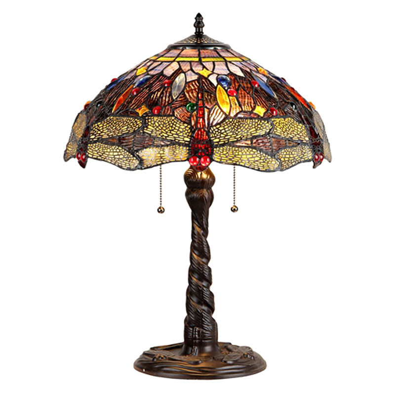 """Dragan"" Dragonfly Arts and Crafts Double Light Table Lamp"
