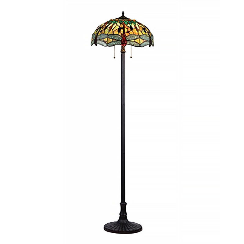 Empress Dragonfly Arts and Crafts Double Lit Floor Lamp 1