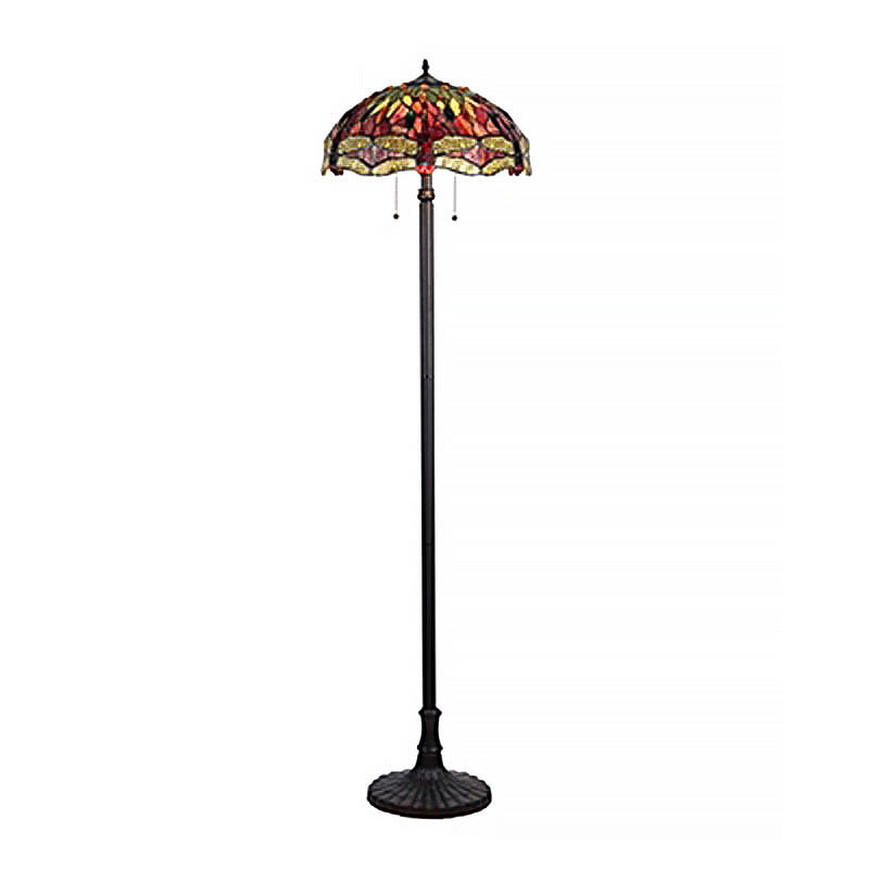 Empress Dragonfly Arts and Crafts Double Lit Floor Lamp 2