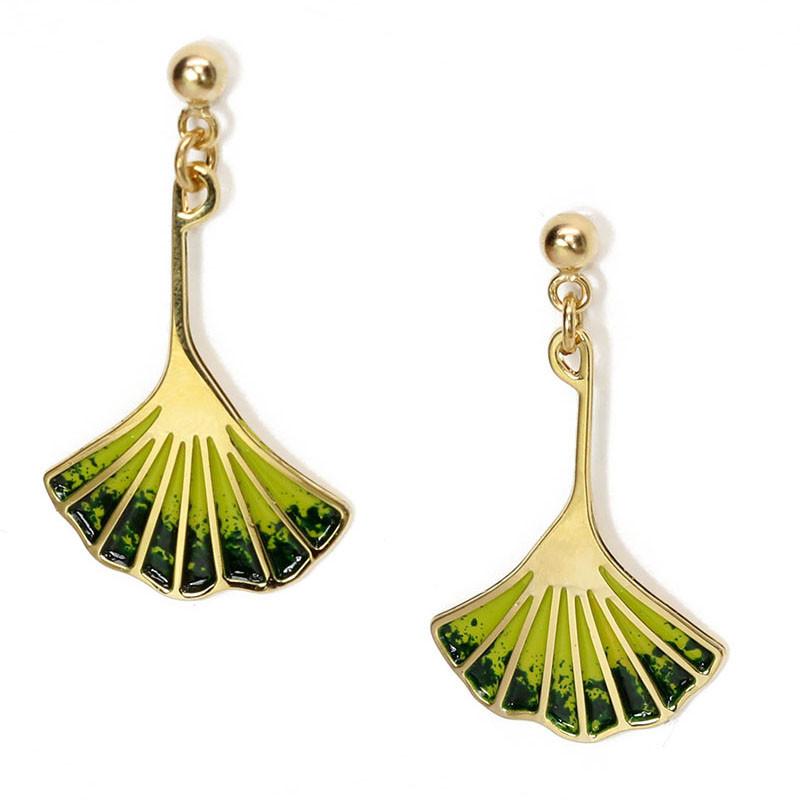 Ginkgo Leaf Earrings - Dark Green Enamel