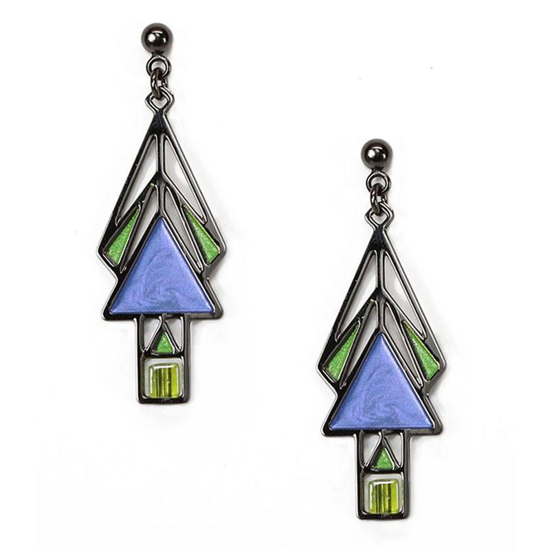 Mahony Window Twilight Blue Enamel Earrings