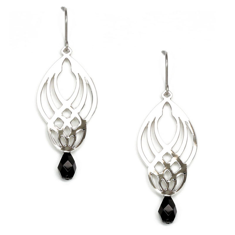 Sullivan Stencil Earrings with Black Bed