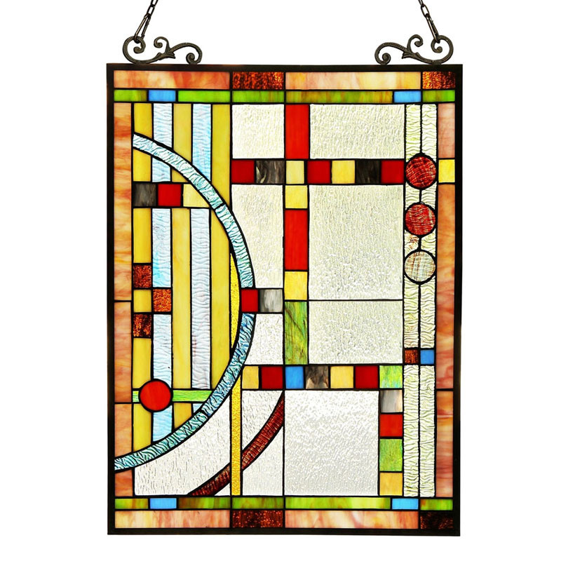 Arts & Crafts Mission Circles Stained Glass Panel