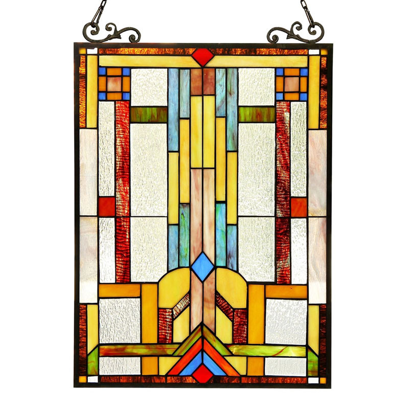 Arts & Crafts Mission Stained Glass Panel