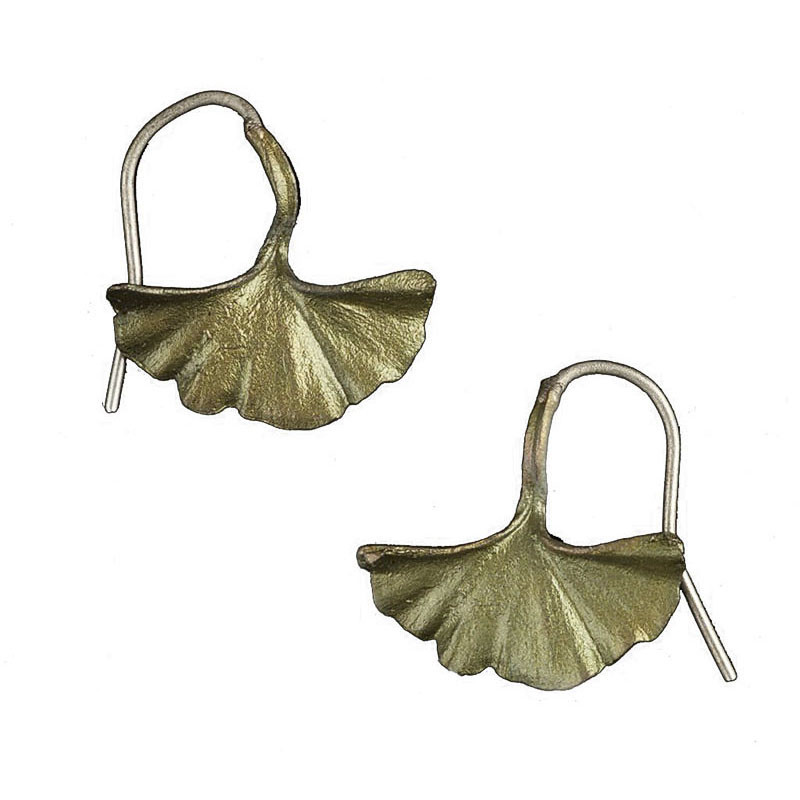 Michael Michaud Single Ginkgo Leaf Patinated Bronze Earrings