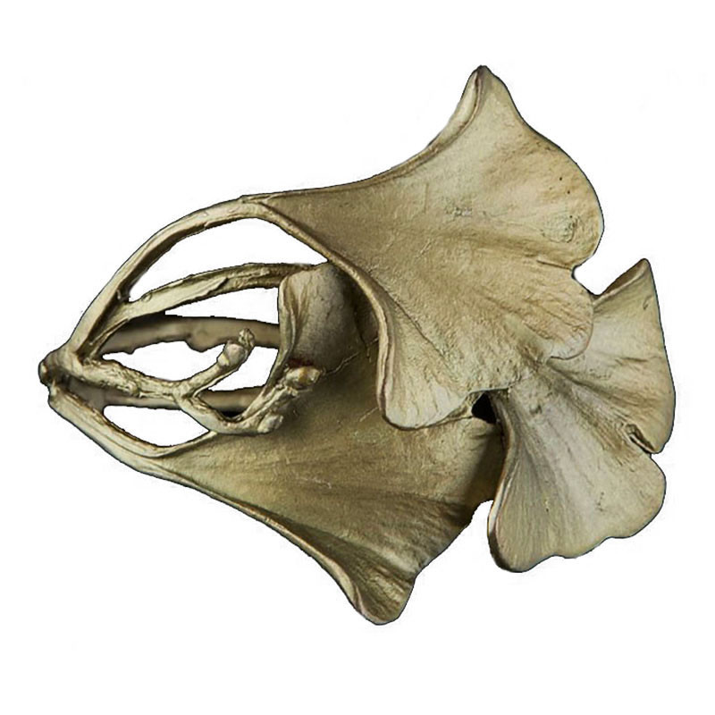 Michael Michaud Ginkgo Leaf Patinated Bronze Cuff Bracelet