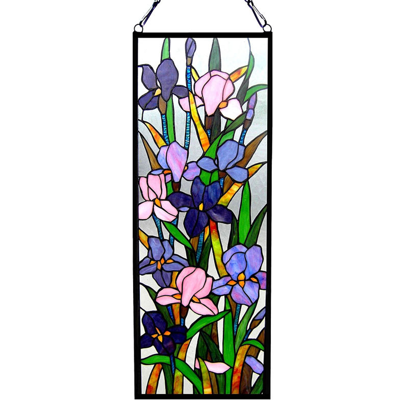 Arts & Crafts Iris Stained Glass Panel