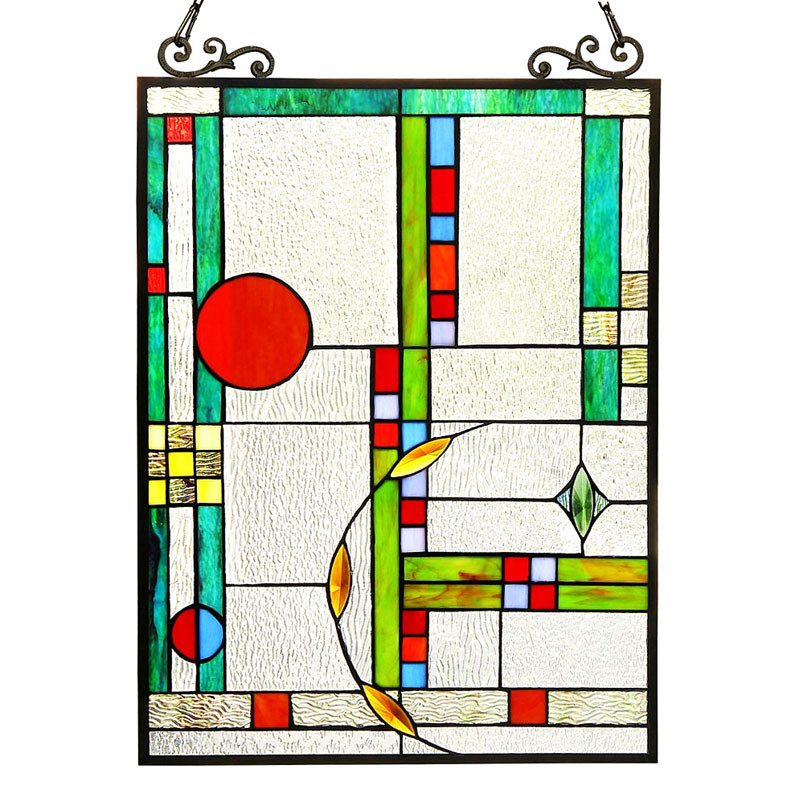Arts & Crafts Mission Mondriaan Stained Glass Panel