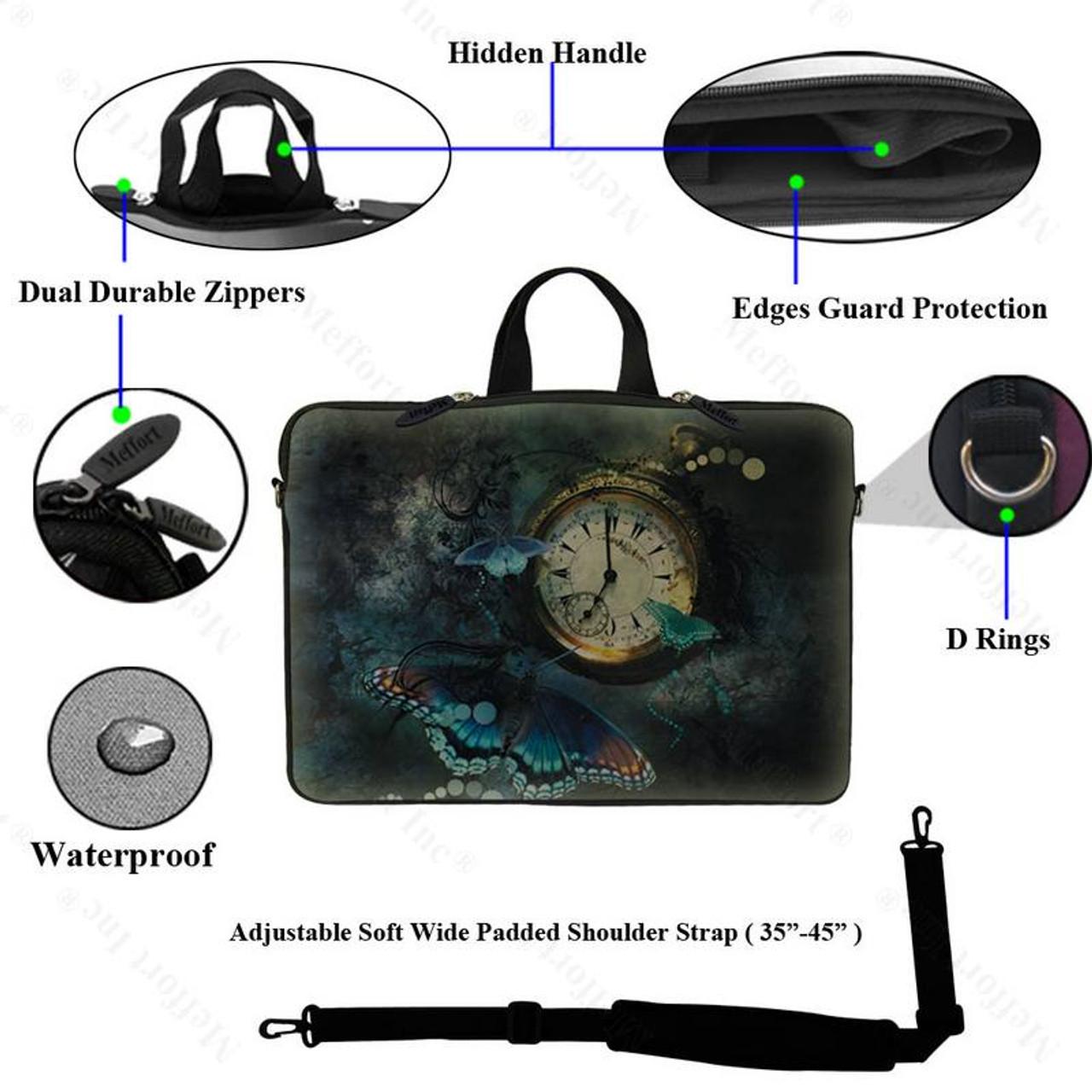 """14/"""" Laptop Computer Sleeve Case Bag w Hidden Handle /& Shoulder Strap 2908"""