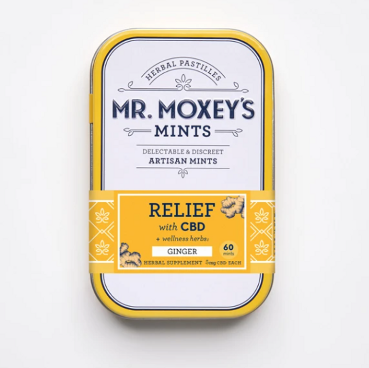 Mr Moxey's RELIEF Ginger CBD mints with herbal allies - Free Delivery Today for all CBD products to the Seattle Area