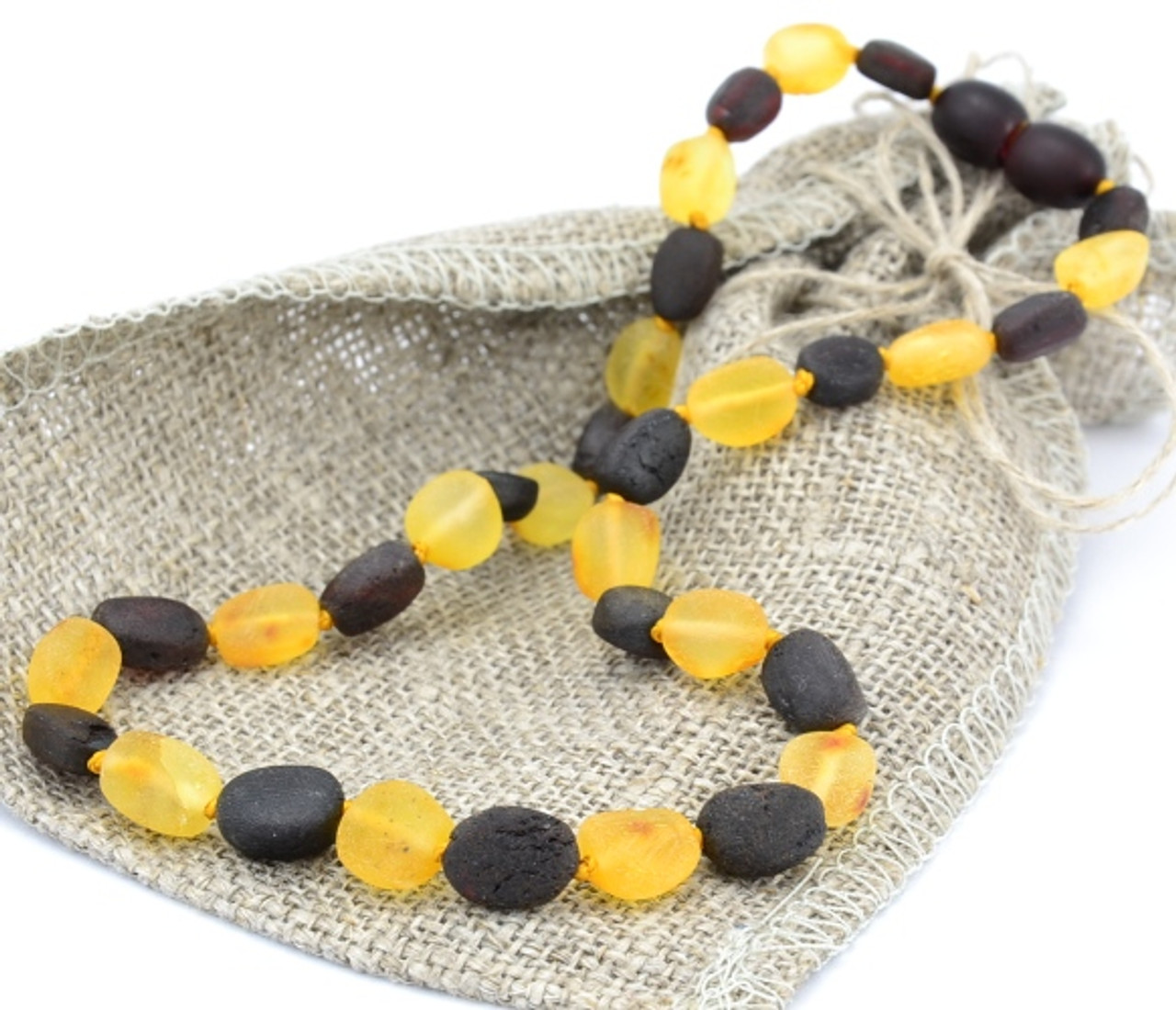 Raw Amber Teething Necklace Made Of Lemon And Black Amber