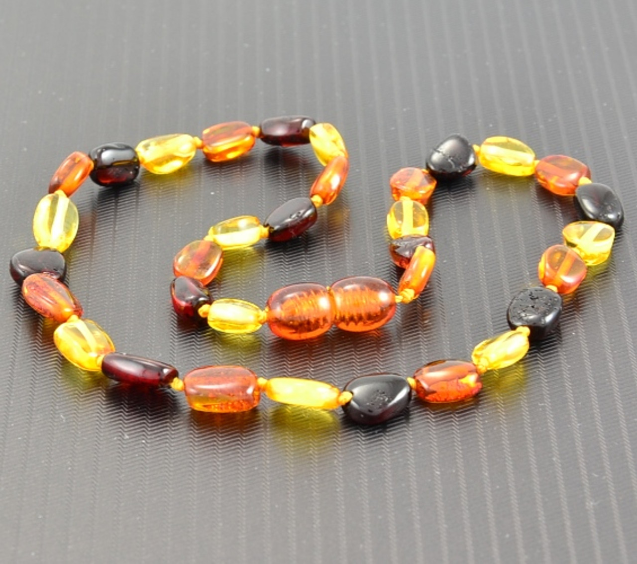Natural baltic amber necklace multicolor