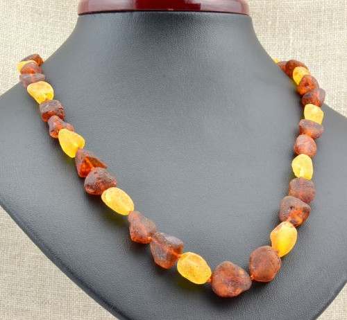 Raw Amber Necklace Made of Healing Baltic Amber