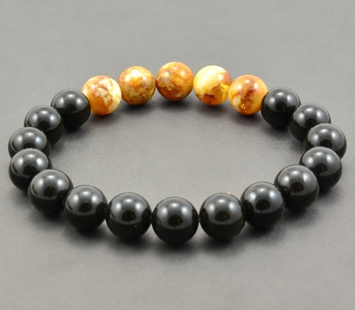 Men's Beaded Bracelet Made of Black and Marble Amazing Amber
