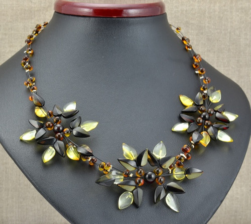 Baltic Amber Flower Necklace