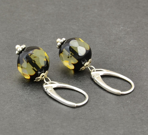 Faceted Baltic Amber Earrings