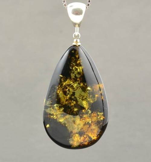 Green Baltic Amber Pendant