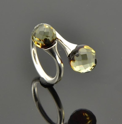 Faceted Baltic Amber Ring
