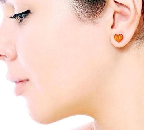 Amber Heart Stud Earrings