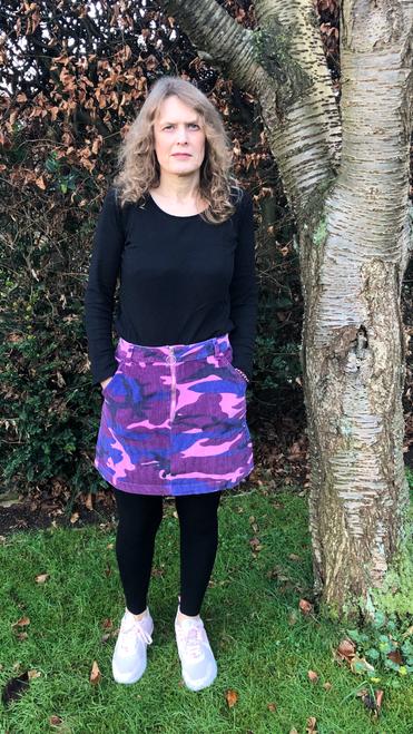 Pink Cord  Camo Skirt