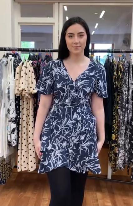 Navy Bird Print Dress