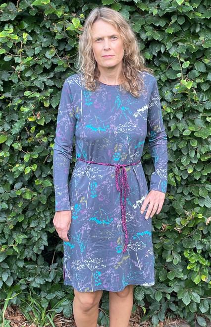 Grey Floral Jersey Dress
